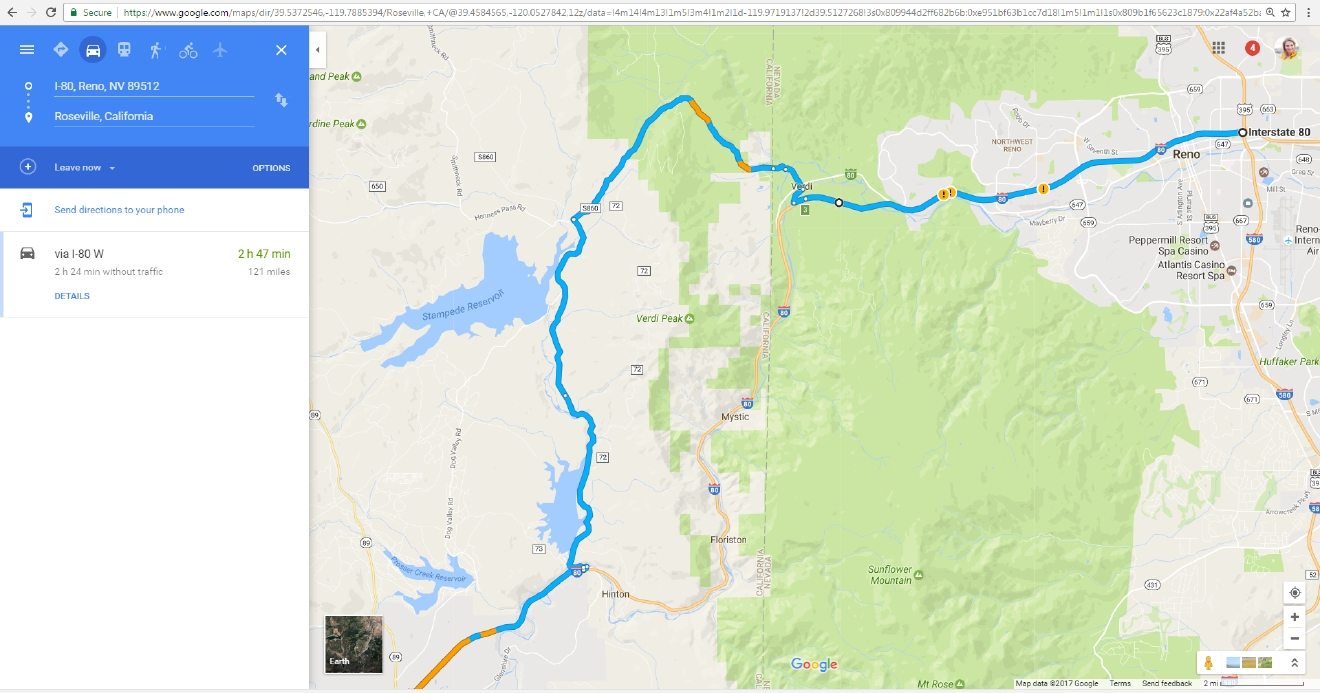 Google Maps suggests Dog Valley Road as an alternate route | Courtesy: Google Maps