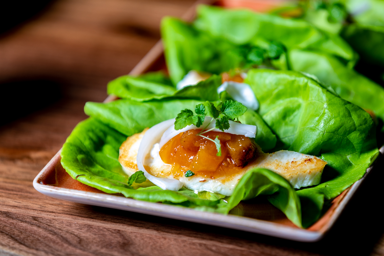<p>Halibut bibb cups: salt-brined halibut, bibb lettuce, serrano peach jam, and fresh coconut / Image: Amy Elisabeth Spasoff // Published: 9.23.18</p>