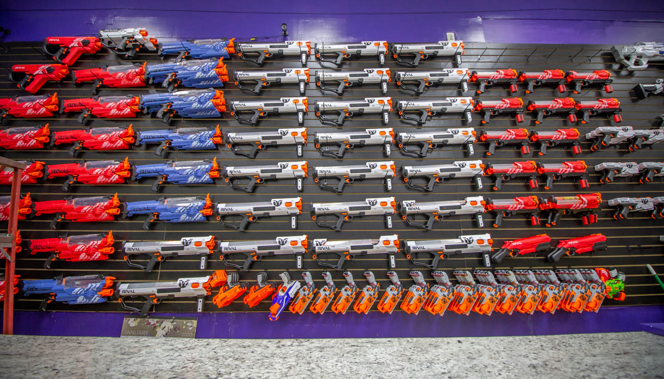 Some blasters can hold over 100 foam balls and shoot 12 at a time. The blasters can also be repaired or customized through Foam Warriorz if you're looking for upgrades or a fresh paint job. / Image: Katie Robinson, Cincinnati Refined // Published: 2.4.20