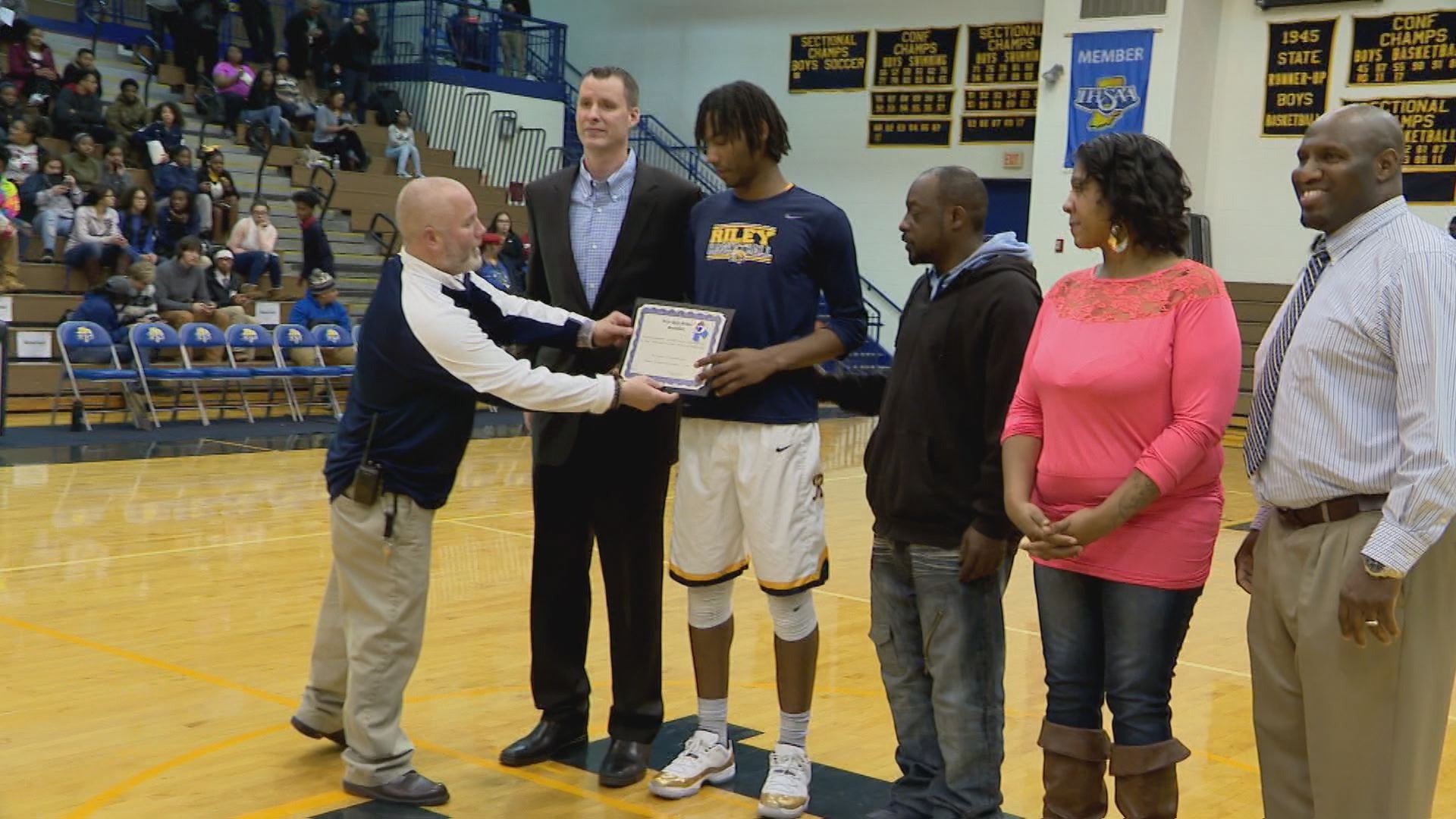 Damezi Anderson honored as Riley's all-time leading scorer // WSBT 22 Photo<p></p>