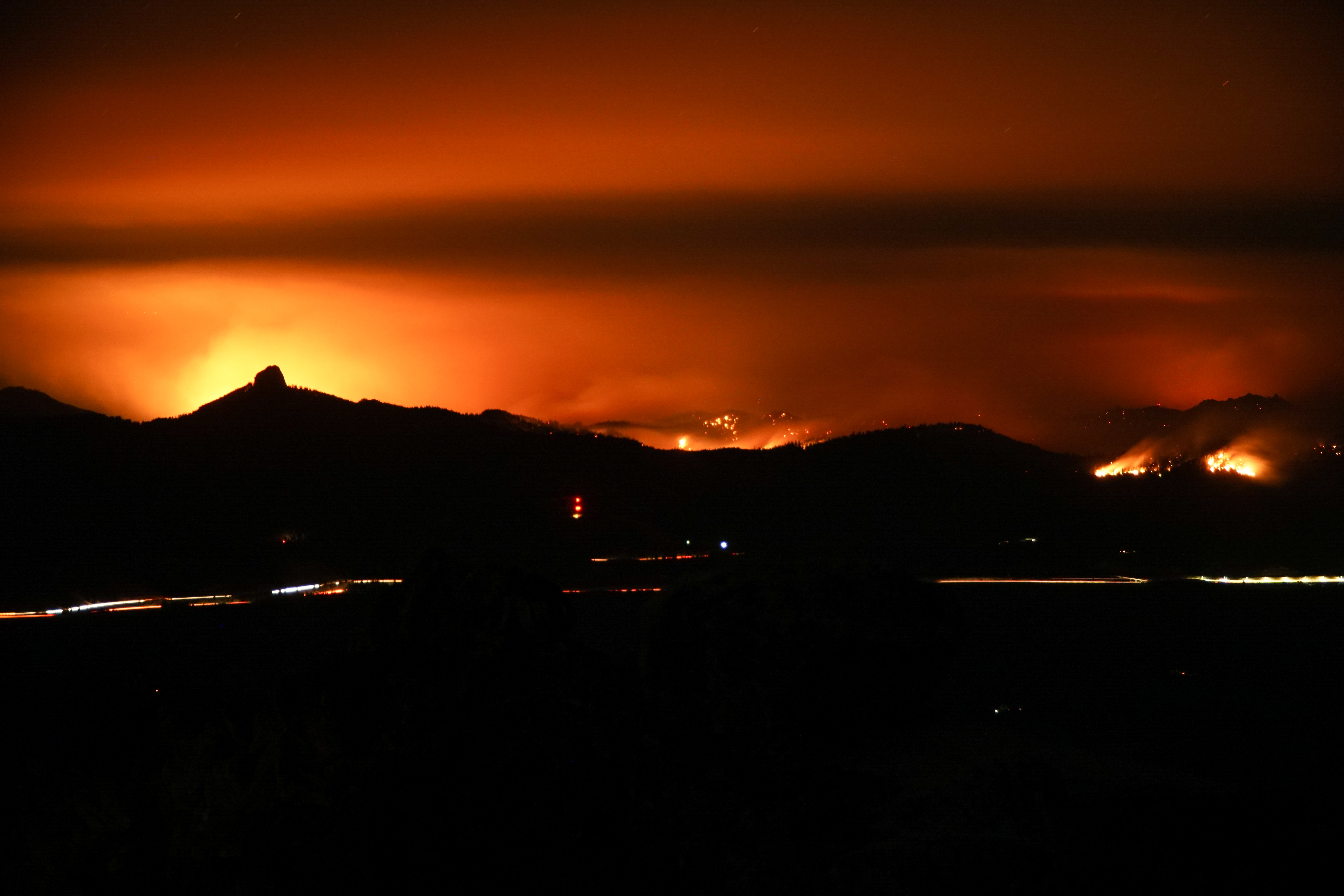 Photo submitted by{ }Lukaiel Reece-Sullivan shows the Klamathon Fire burning Saturday night.{ }
