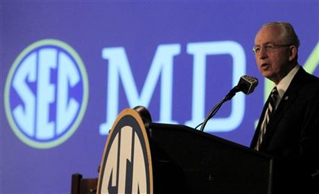 Southeastern Conference (SEC) Commissioner Mike Slive speaks during SEC media days on Monday, July 14, 2014, in Hoover, Ala.