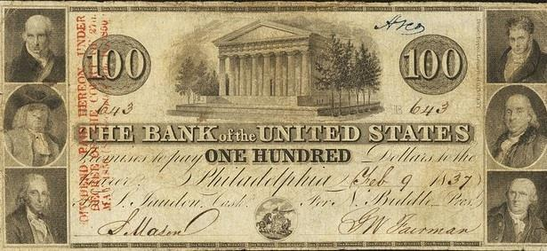 The Second Bank of the United States' charter expired in 1836 but obtained a charter in Pennsylvania and issued notes like this $100 bill.
