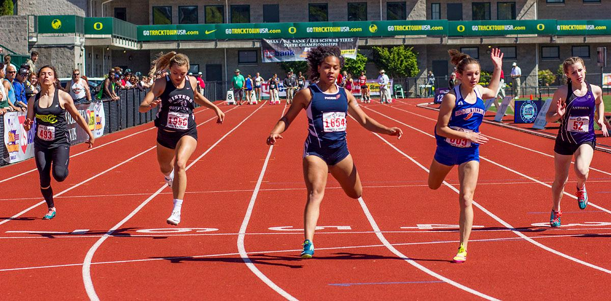 Nyah Kendall of Hidden Valley High School wins the 4A Girls 100 Meter Dash on Friday with a time of 12.34 in the 2017 OSAA State Track and Field Championships at Hayward Field.  Photo by: Stephanie Cusano, Oregon News Lab