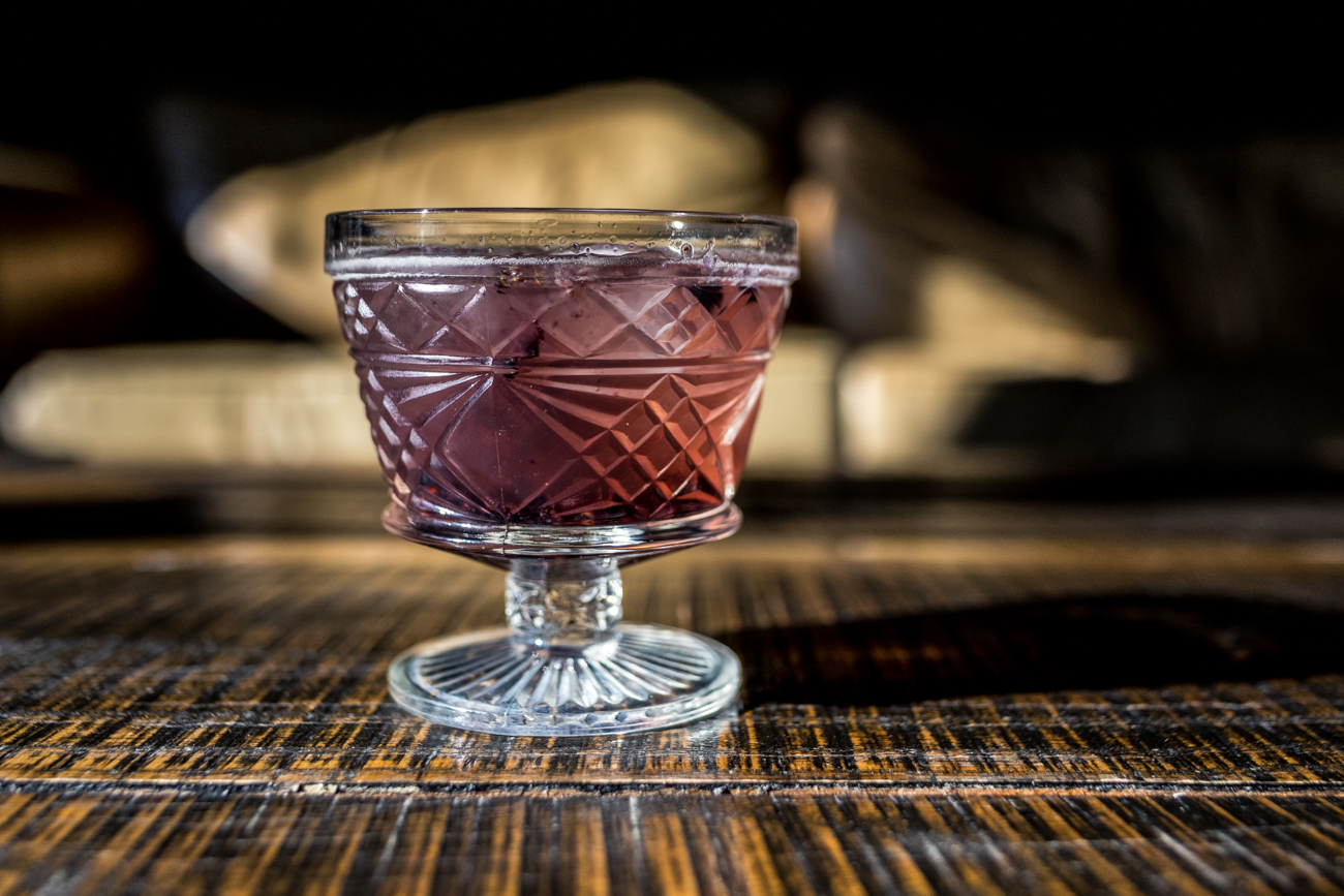 Bourbon Smash: an Old Fashioned-style cocktail with Bulleit bourbon, blackberries, & basil / Image: Catherine Viox // Published: 10.11.20