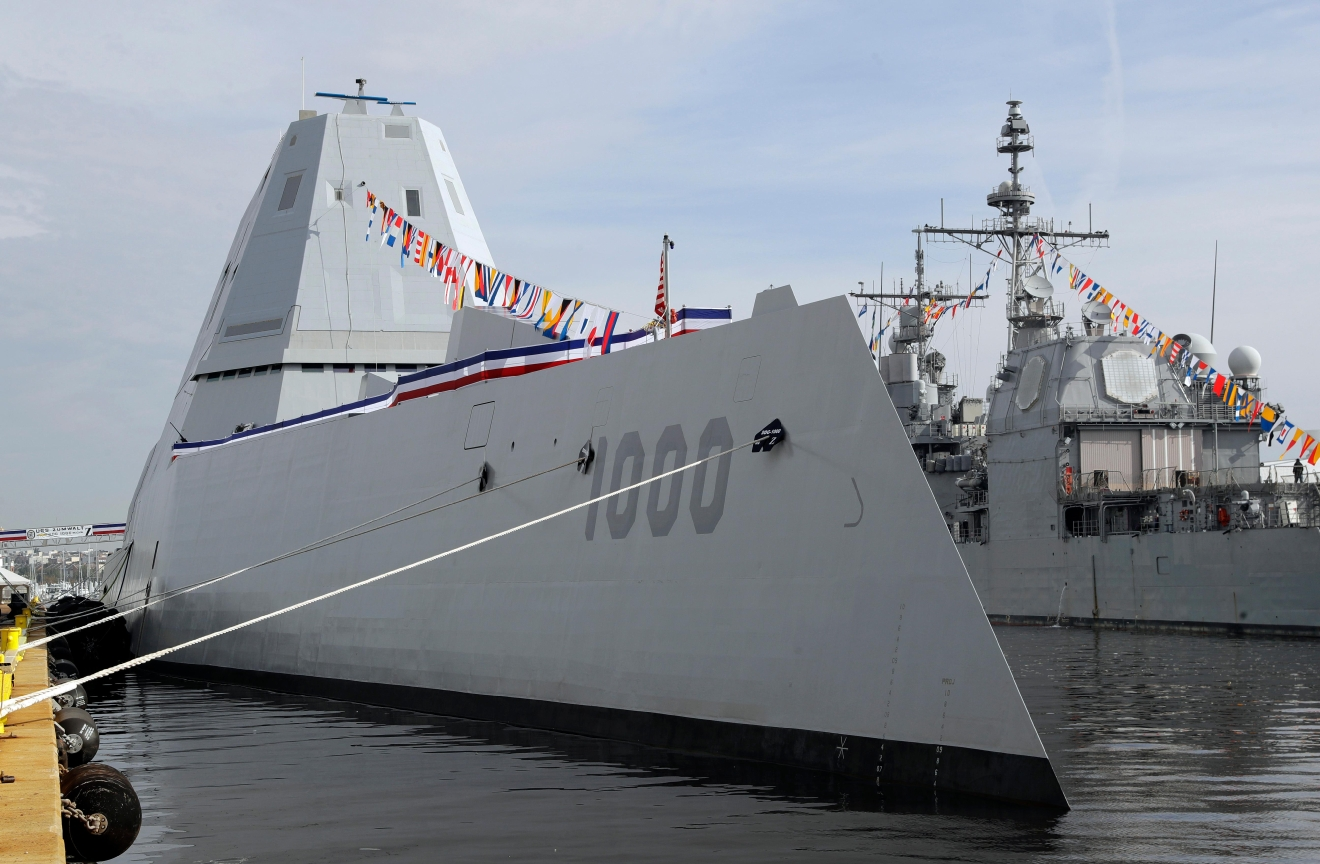 This Oct. 13, 2016 photo shows the U.S. Navy's newest guided-missile destroyer, the future USS Zumwalt, docked in Baltimore. The destroyer's commissioning ceremony is set for Oct. 15 during the inaugural Maryland Fleet Week. (AP Photo/Patrick Semansky)