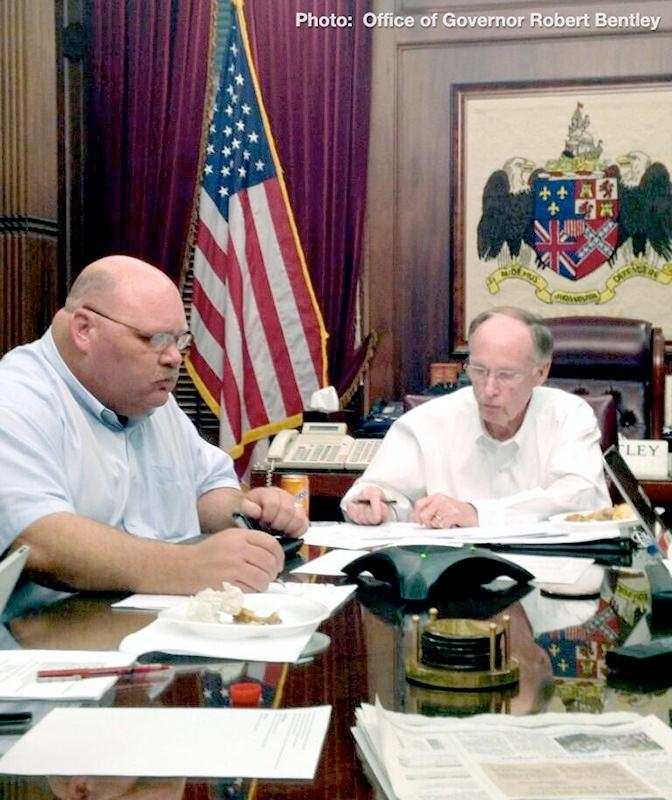 Alabama Governor Robert Bentley on a conference call briefing with local school superintendents, mayors and officials discussing the winter weather situation, Tuesday, January 28, 2014.