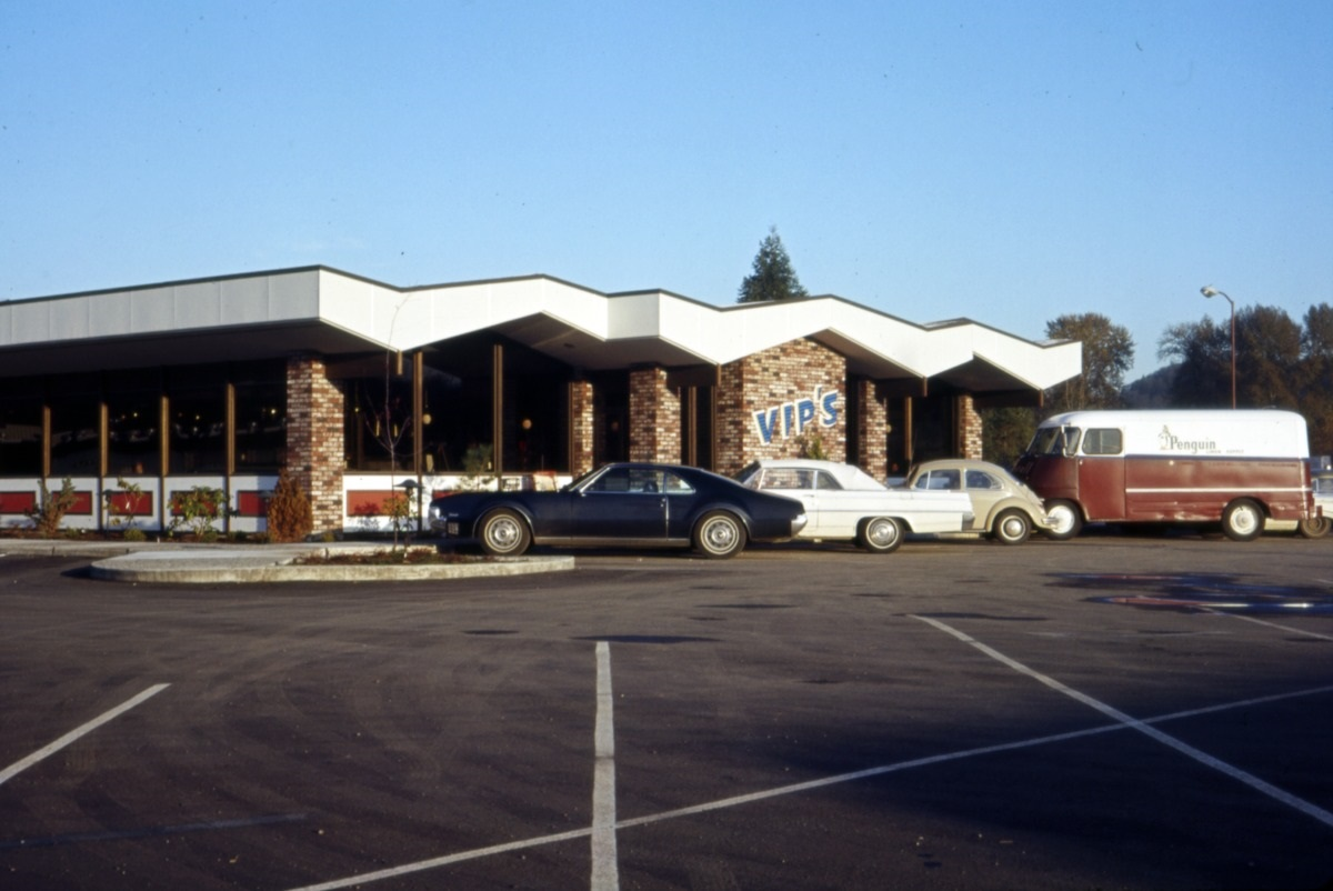 Vips was located at 13050 Interurban Avenue South, in Tukwila. Now it's a street with a Starbucks Coffee nearby. (Image: Seattle Municipal Archives / flickr)