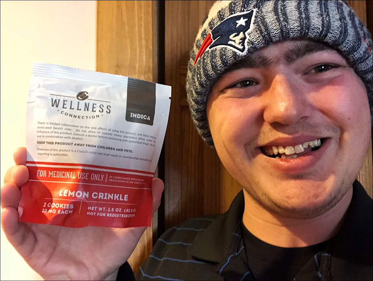 This Jan. 10, 2018, photo provided by Zac Mercauto shows him holding a package of marijuana cookies in Fryeburg, Maine. Mercauto is one of many proponents of legalized marijuana who supports President Donald Trump, but thinks his administration is wrong about its anti-pot stance. (Zac Mercauto via AP)