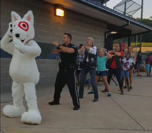 Officer Northrup joined a few locals in some dancing Thursday night (Lake Ozarak PD)