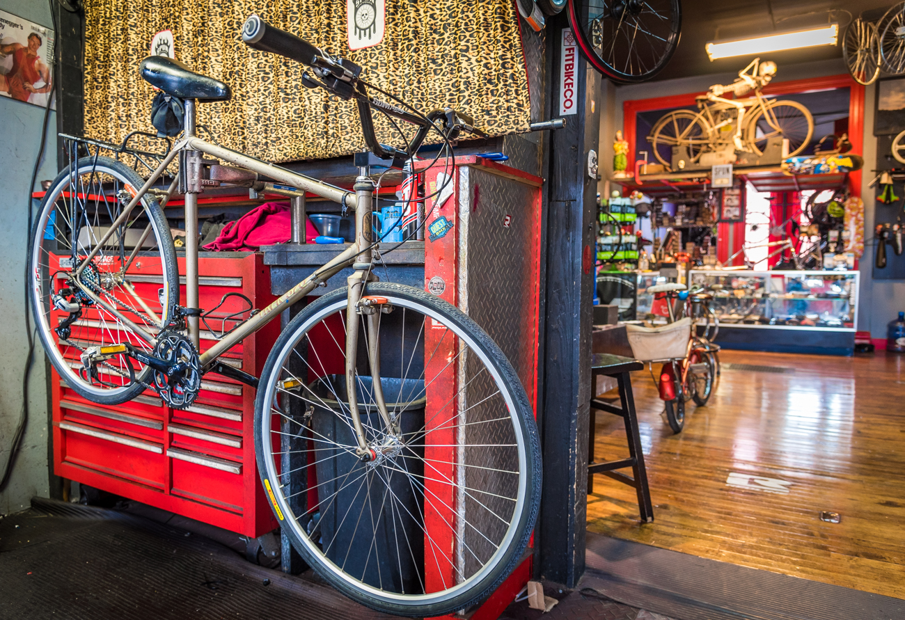 The service department is intentionally situated at the front of the shop instead of their line of bikes for sale. Owners Dom and Judi organized it that way because that's what most of their customers are looking for first. / Image: Phil Armstrong, Cincinnati Refined // Published: 3.19.17