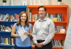 FOX 11's Mike Murad poses for a photo with seventh grade teacher Abby Heinritz at Parkview Middle School in Ashwaubenon Oct. 25, 2016, to kick off the Golden Apple Awards nomination process.