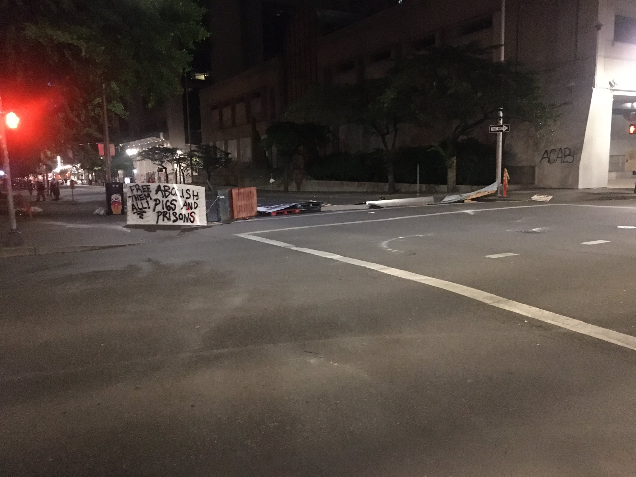Demonstrators formed what they call the Chinook Land Autonomous Territory in downtown Portland Parks near the Justice Center on July 14, 2020. By the next morning, most people had left the area. KATU photo