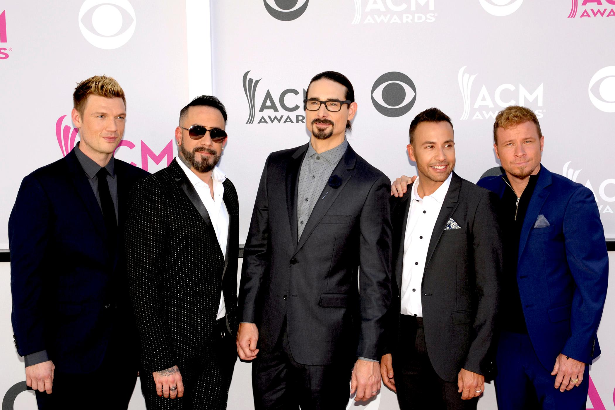(left to right) Nick Carter, AJ McLean, Kevin Richardson, Howie Dorough and Brian Littrell also known as the Backstreet Boys walk the Academy of Country Music Awards red carpet at T-Mobile Arena. Sunday, April 2, 2017. (Glenn Pinkerton/ Las Vegas News Bureau)