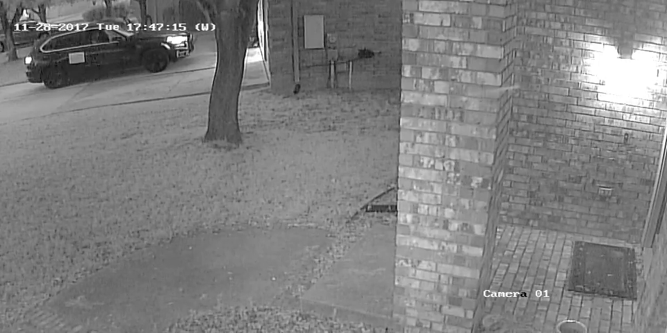 An alleged package thief is caught on camera in North Austin. (Photo/video courtesy: Craig Becker)