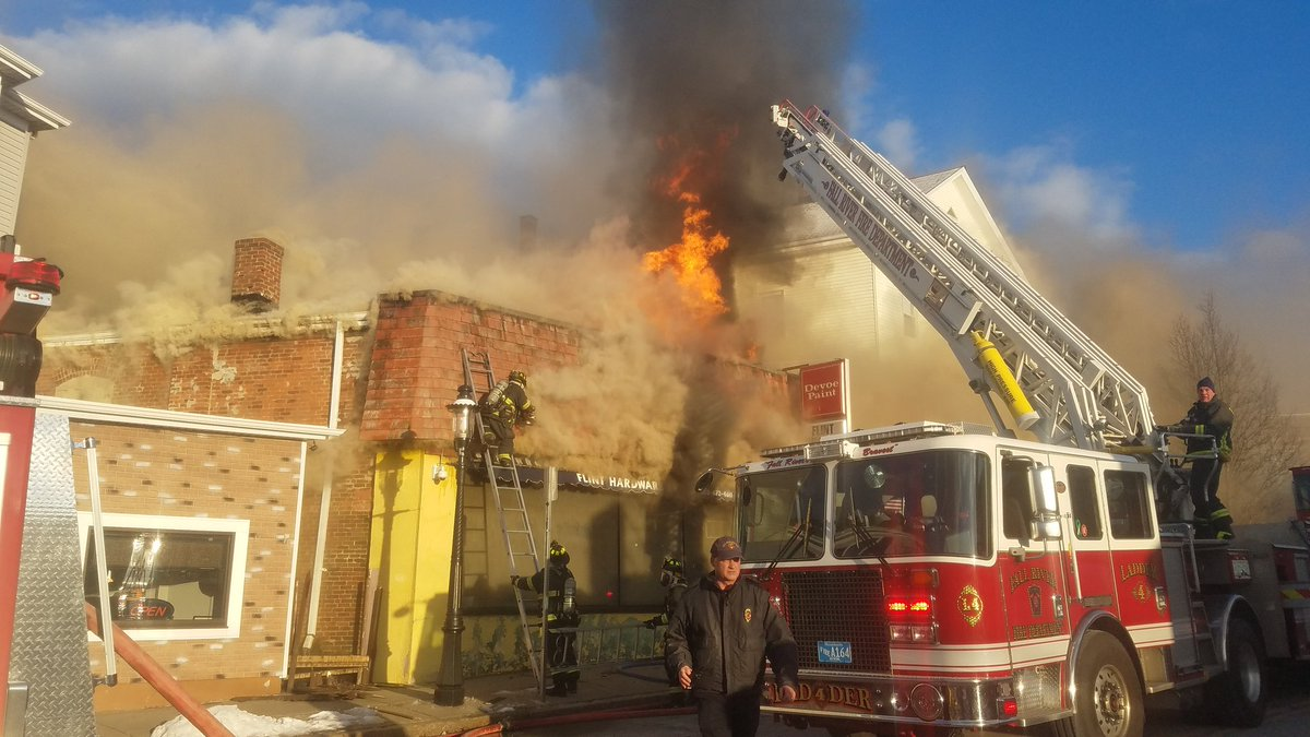 Firefighters are battling a fire at a Fall River hardware store Friday, Feb. 2, 2018 (Photo courtesy of Brian Fraga/Herald News of Fall River)