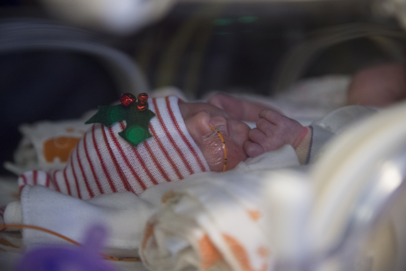 Ava Baudinet, one of a set of quintuplets recently born, rests at the St. Joseph's Nursery Intensive Care Unit, Wednesday, Dec, 21, 2016, in Phoenix. Margaret Baudinet gave birth on Dec. 4 to five healthy babies. (Mark Henle/The Arizona Republic via AP)