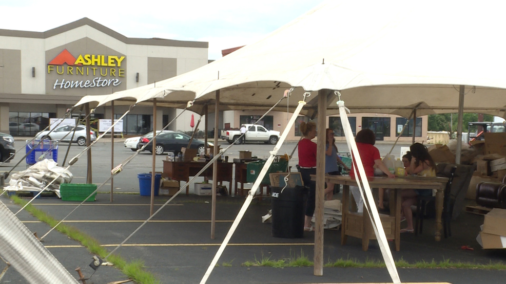 Damaged By Tornado, Ashley Furniture Hosts Tent Sale In Parking Lot | WHP