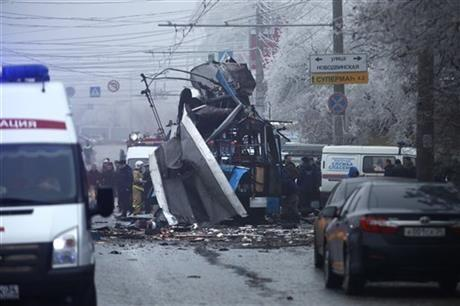 A bomb blast tore through the trolleybus in the city of Volgograd on Monday morning, killing at least 10 people a day after a suicide bombing that killed at 17 at the city%u2019s main railway station.