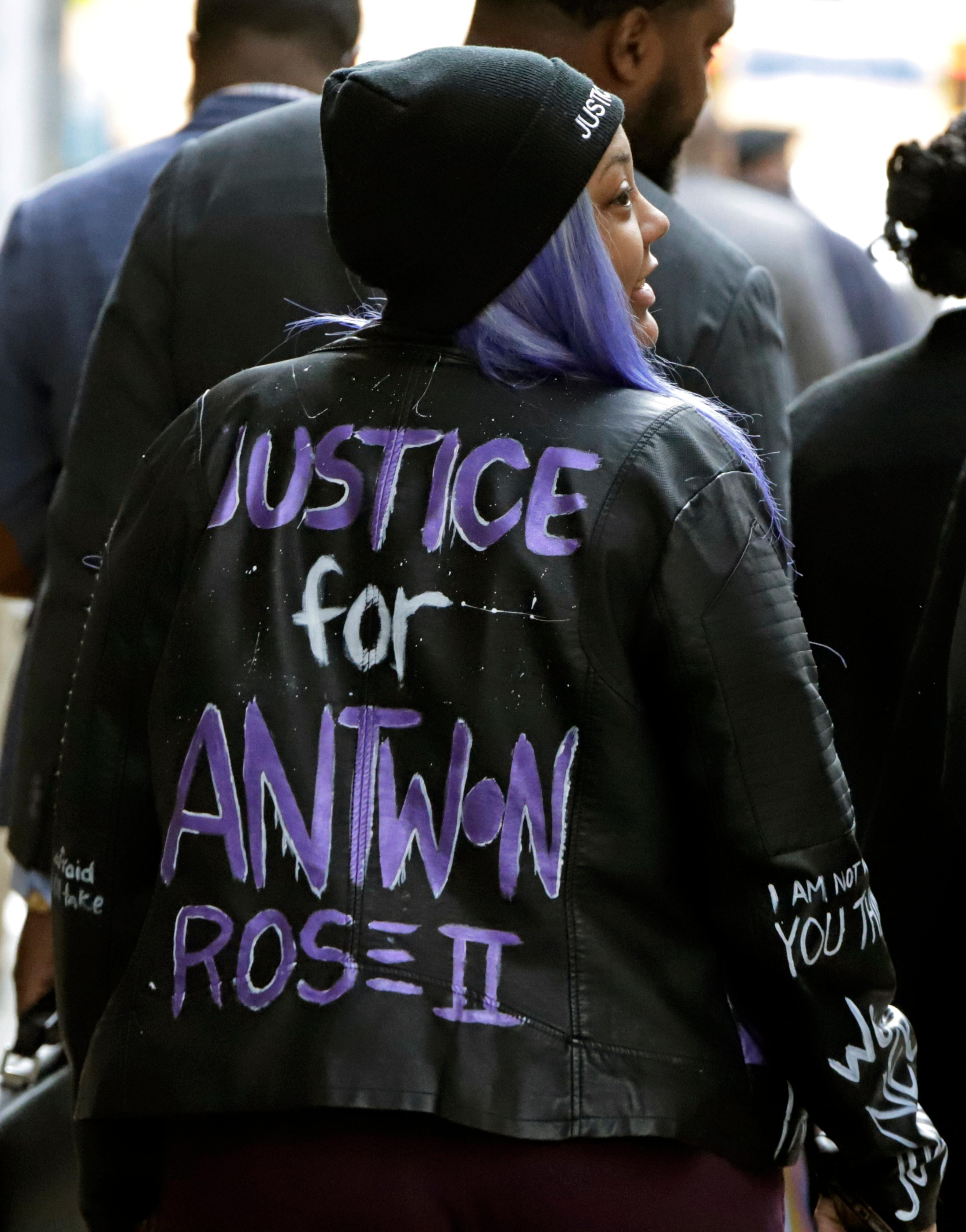 Kyra Jamison, the sister of Antwon Rose II, leaves the Allegheny County Courthouse after the second day of the trial for Michael Rosfeld, a former police officer in East Pittsburgh, Pa., Wednesday, March 20, 2019. (AP Photo/Gene J. Puskar)
