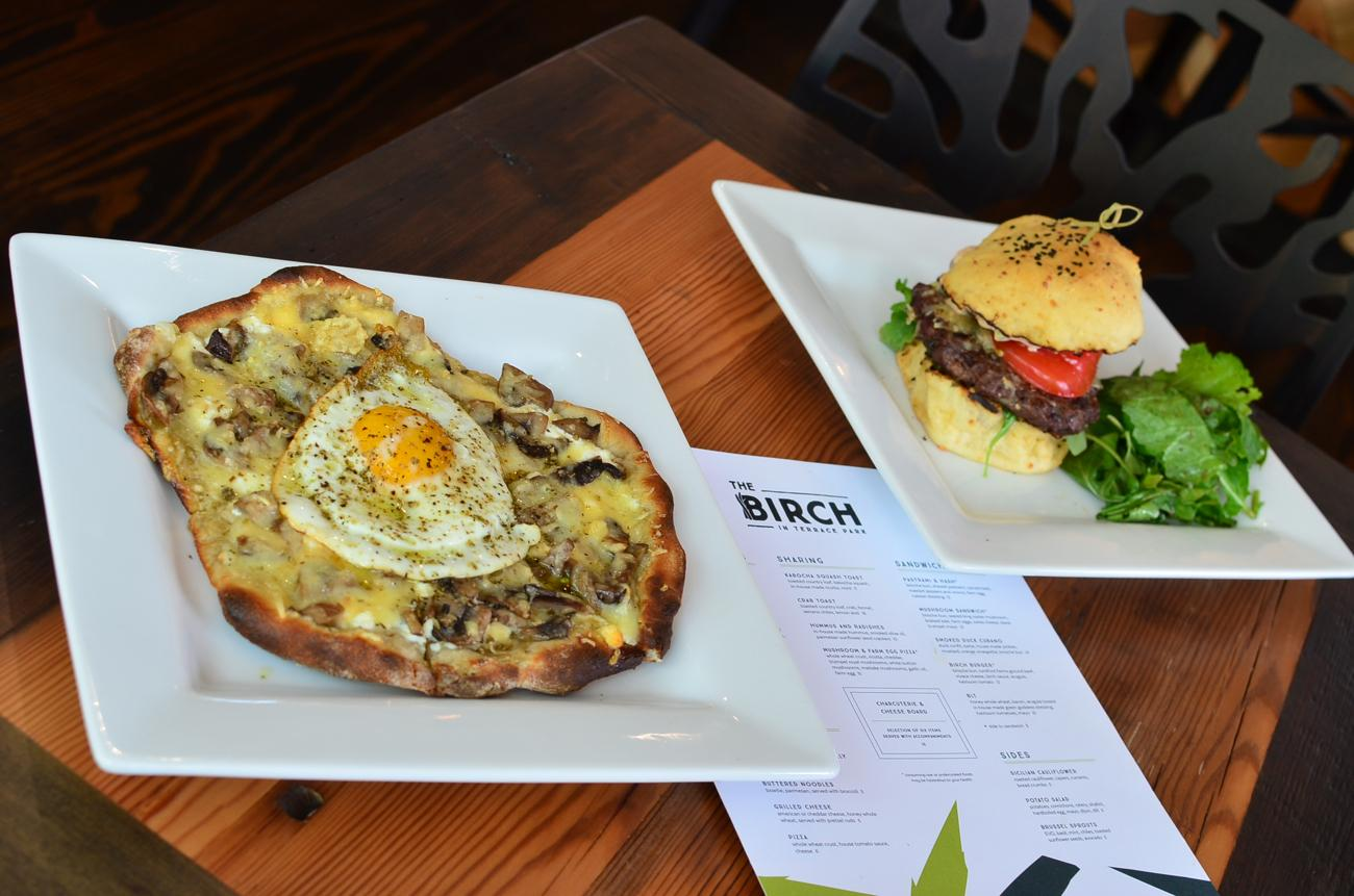 Mushroom & Farm Egg Pizza and Birch Burger / Image: Leah Zipperstein, Cincinnati Refined // Published: 6.19.17