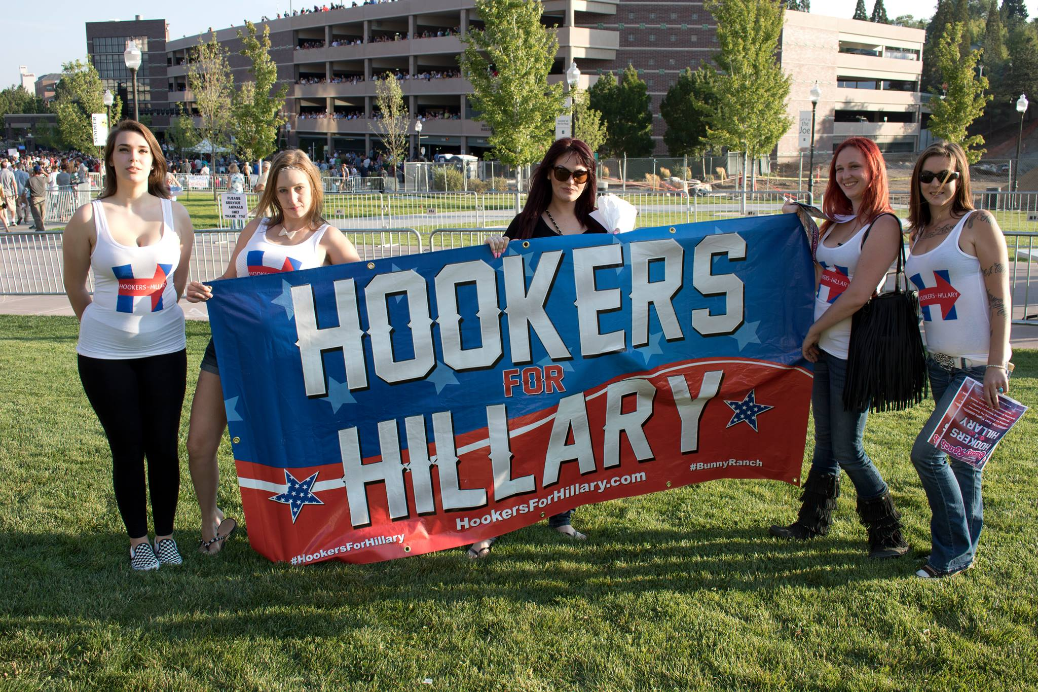 Hookers 4 Hillary at a Bernie Sanders rally at the University of Nevada, Reno on Tuesday, Aug. 18, 2015. (Hookers 4 Hillary)