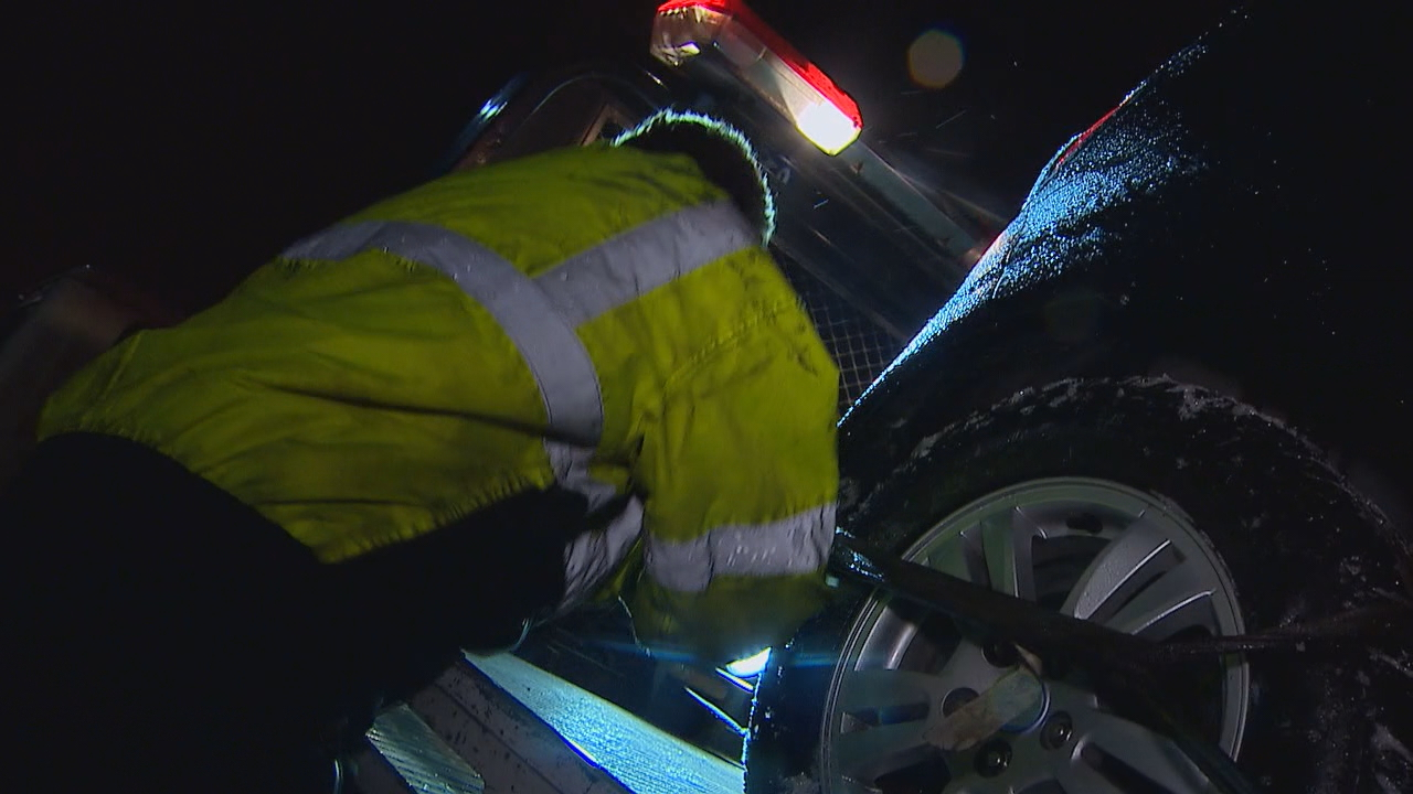 """All of a sudden it turns to the slush and nobody knows what to do,"" said Brandon Hine, one of the drivers with Cle Elum Towing. ""And they just start to slide and then their gone and done.&quot; (Photo: KOMO News)<p></p>"
