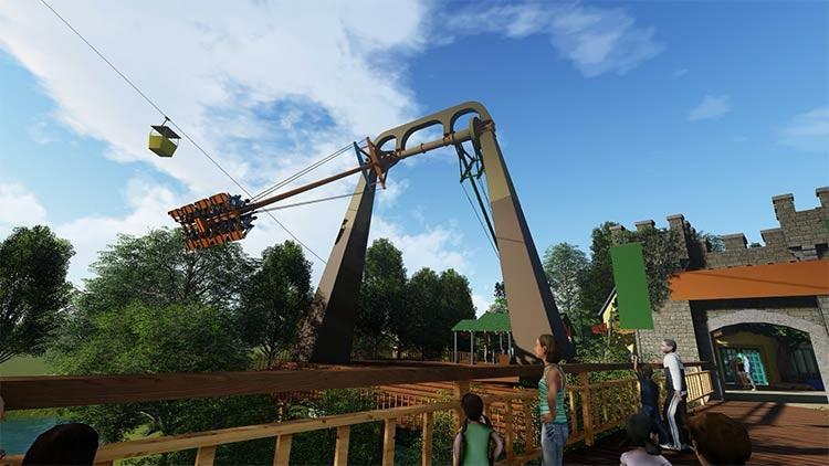 Finnegan's Flyer features two pendulum-like arms, seating 32 riders that fly progressively higher with each swing.{ } (Image: Courtesy Busch Gardens)