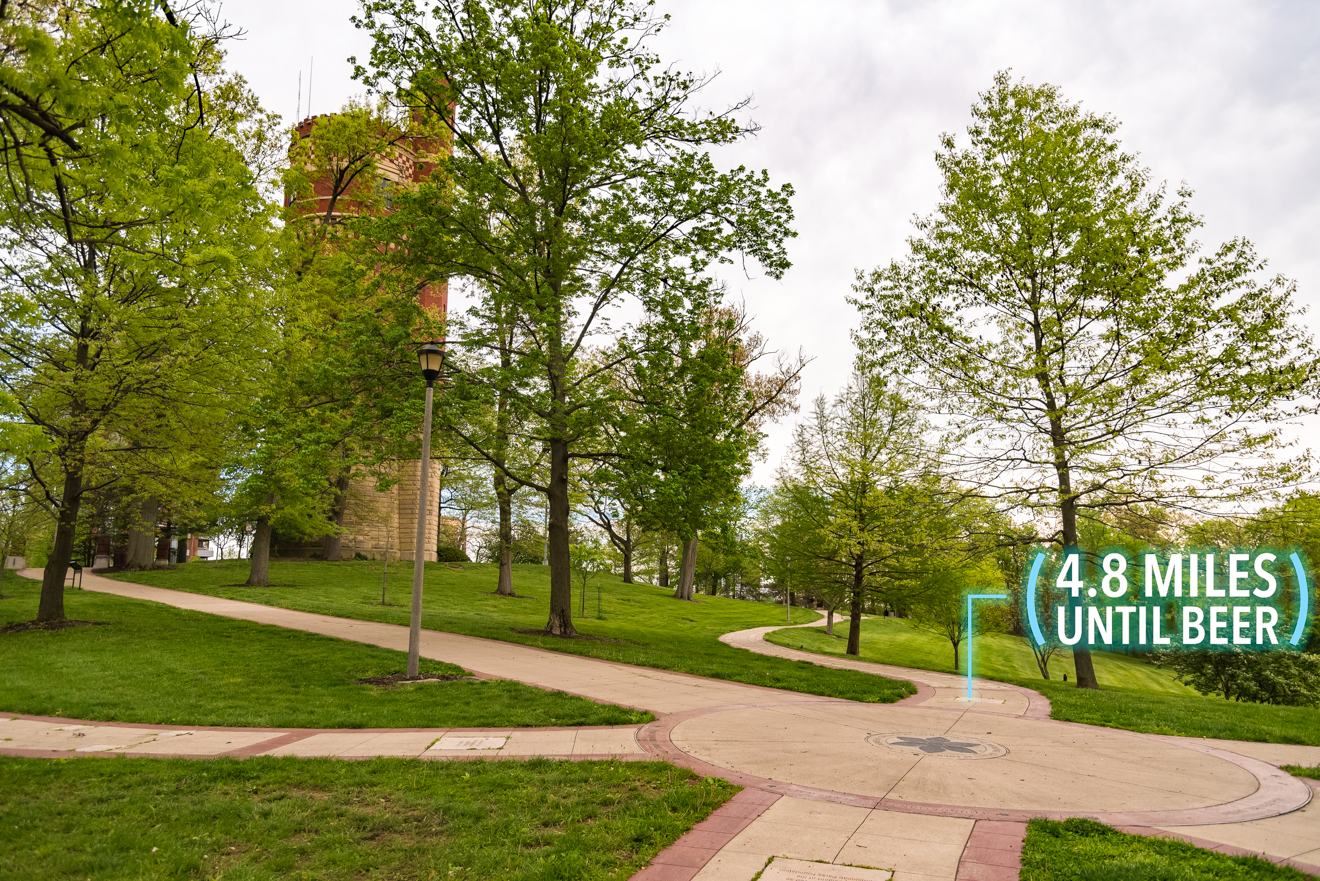 Following the path, will land you in The Memorial Groves at Eden Park. Go straight past the Eden Park Standpipe on the left. / Image: Phil Armstrong, Cincinnati Refined // Published: 4.25.17