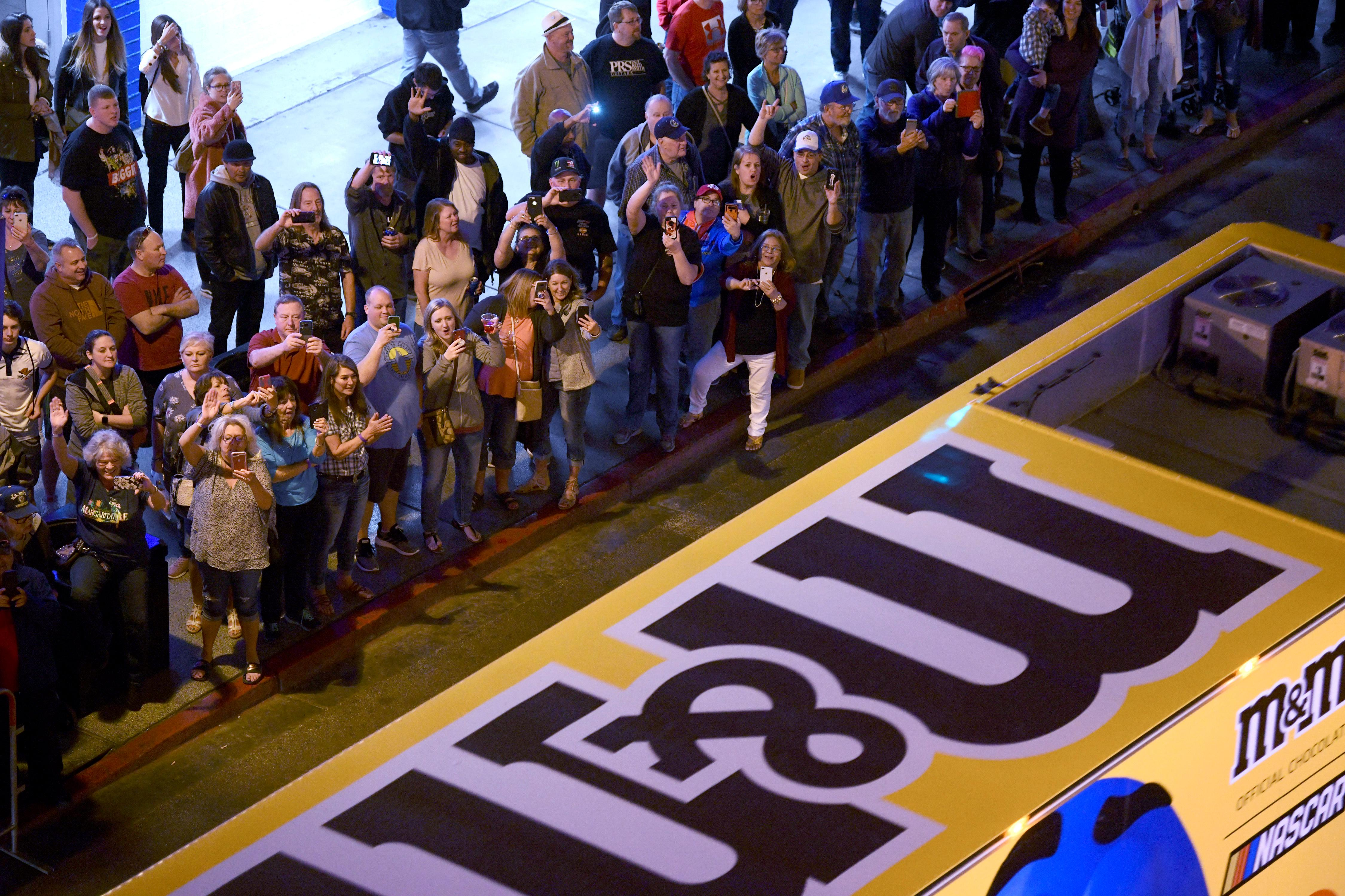 Fans cheer as NASCAR haulers parade up Fourth Street as the Ultimate Vegas Sports Weekend gets underway Thursday, February 28, 2019. (Sam Morris/Las Vegas News Bureau)