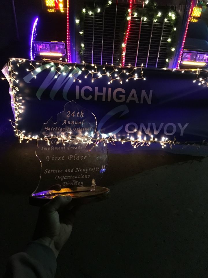 A big rig shining in all its glory took first place in the Service and Nonprofit Organizations Division in the 24th Annual Lighted Farm Implement Parade held in Sandusky on Saturday night. (Photo Credit: Matt Schaller)