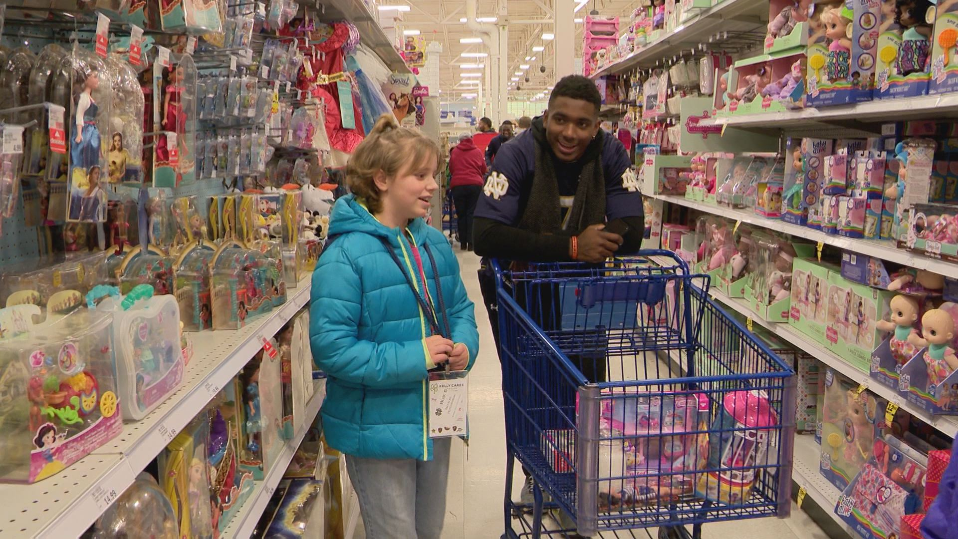 Brandon Wimbush strolls down the doll aisle during the event shopping spree // WSBT 22 Photo<p></p>