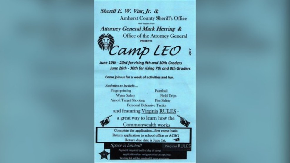 Amherst Co Sheriffs Office To Hold Day Camps For Teens Wset