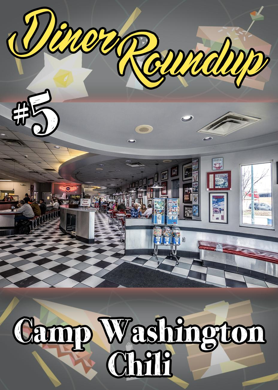 "Camp Washington Chili (3005 Colerain Avenue) is a famous local restaurant that's been open for business since 1940. It serves around 1000 coneys a day filled with Camp Washington's secret chili recipe made from locally sourced meat. Aside from coneys and ways, its large menu offers sandwiches, melts, soups, salads, and breakfast. It's open 24 hours a day Monday through Saturday, or ""24/6"" as they say. / Image: Catherine Viox // Published: 3.8.20"