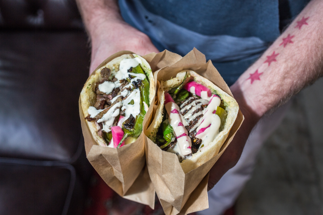 Beef shawarma and falafel sandwiches / Image: Catherine Viox // Published: 4.7.19