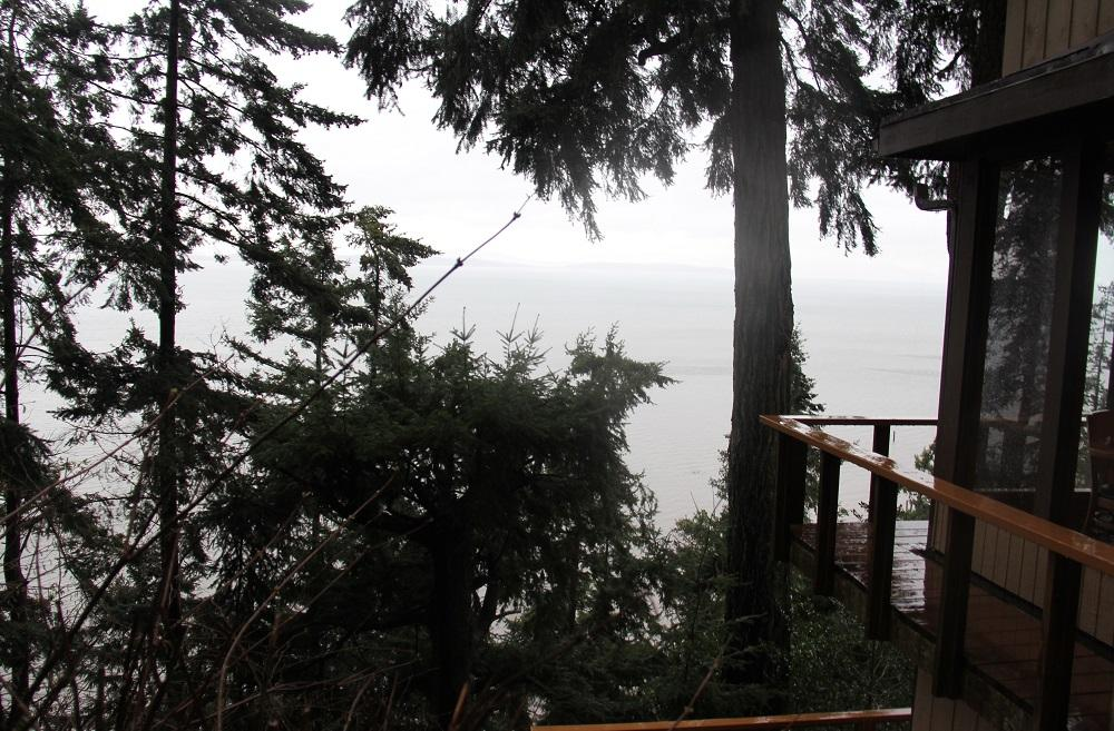 The view on a rainy day from The Oyster Bar on Chucanut Drive. (Photo by Jenny Kuglin / Seattle Refined)