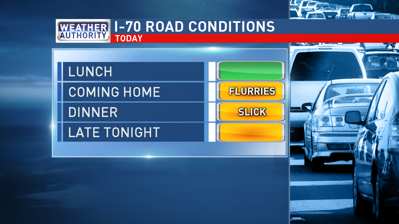 Monday's potential road conditions along I-70.