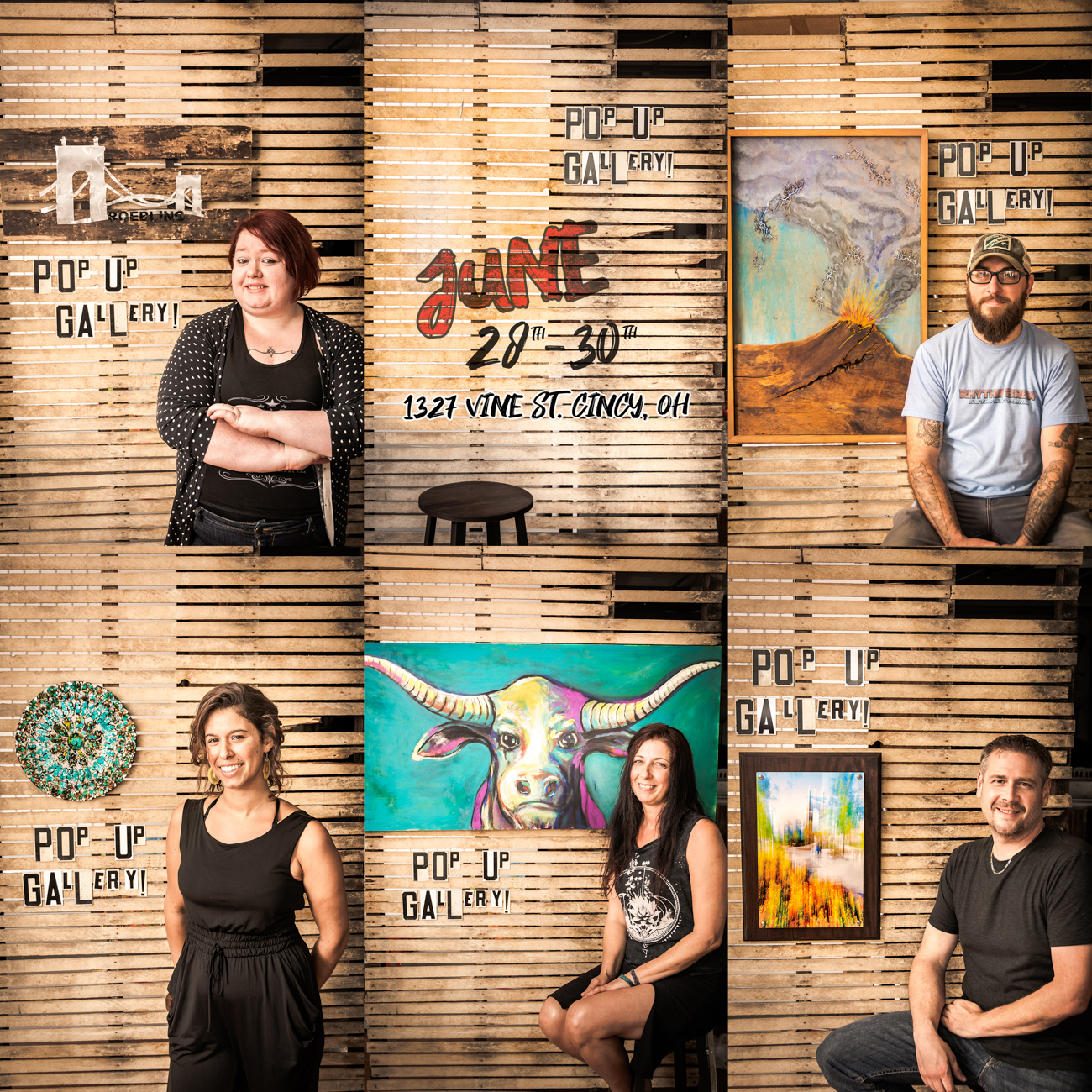The five featured artists in the pop-up gallery include (top row from the left to right) Sara Cole with Sara Cole Art Designs, Matt Meyung, (bottom row from left to right) Di Del Pilar with Wisdom Tree, Linnoir Rich with Art by Linnoir, and Ryan Hill with ImageNationS Photography.{ }You can see their works at Vine Street's Brick OTR on the weekend of June 28-29 from 11 AM-11 PM, and June 30th from 11 AM-6 PM. / Image: Ryan Hill via ImageNationS Photography) // Published: 6.26.19