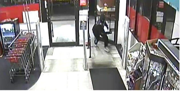 A surveillance photo shows a suspect near the entrance to a retail pharmacy at an unspecified location. More than 20 pharmacies have been burglarized in the early mornings in a string of pharmacy incidents across the valley that began in May 2017. (LVMPD photo<p></p>
