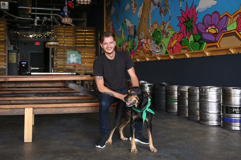 Meet Thor, a Rottweiler/Shepherd mix who is{ } between 5 and 6 years old, and Tyler, a 25-year-old human.{ }Photo location: Midlands Beer Garden (Image: Amanda Andrade-Rhoades/ DC Refined)