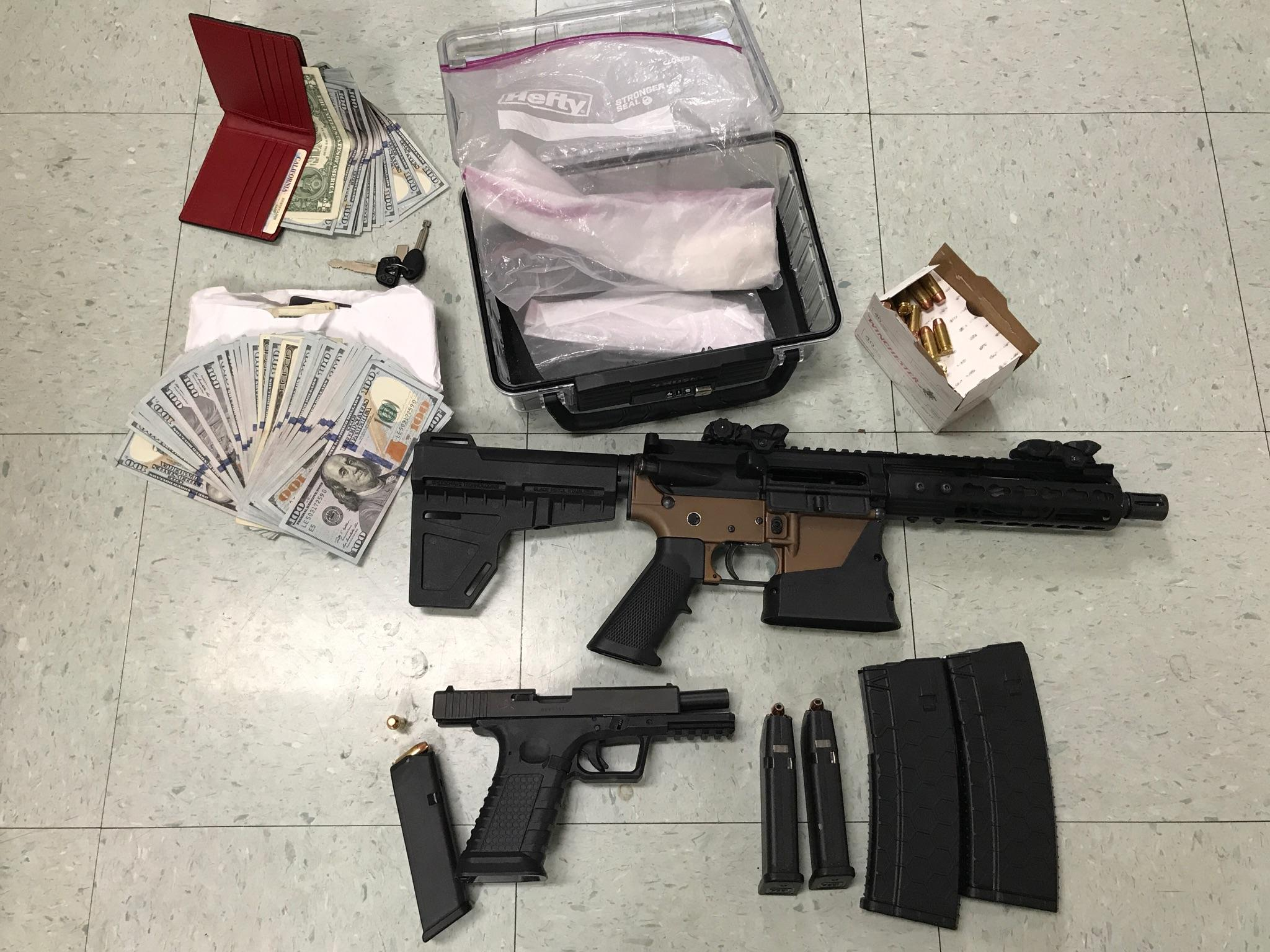 "Detectives searched Jorge Albert Aquino's home in Fresno and ""found an AR-15 style handgun, ammunition, cash and cocaine (46 grams or 1.6 ounces.)"" 