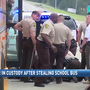 Driver in custody after stealing school bus
