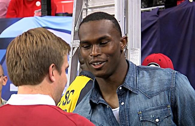 Former Alabama receiver and current Atlanta Falcons player Julio Jones was in attendance for the SEC Championship Game on Saturday.