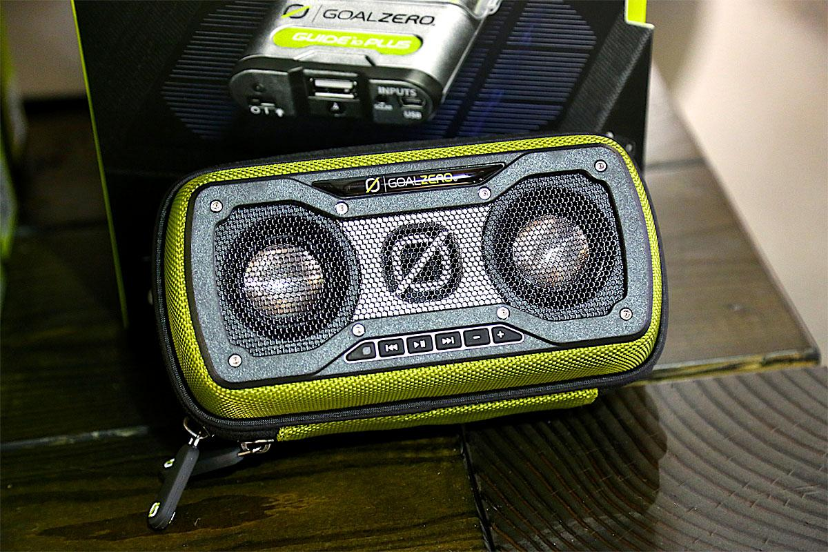 Bring your favorite playlist to the wilderness! This portable speaker from Goal Zero has a water-resistant shell and is tough enough to withstand cold and heat. (Image: Kristi Waite/Seattle Refined)
