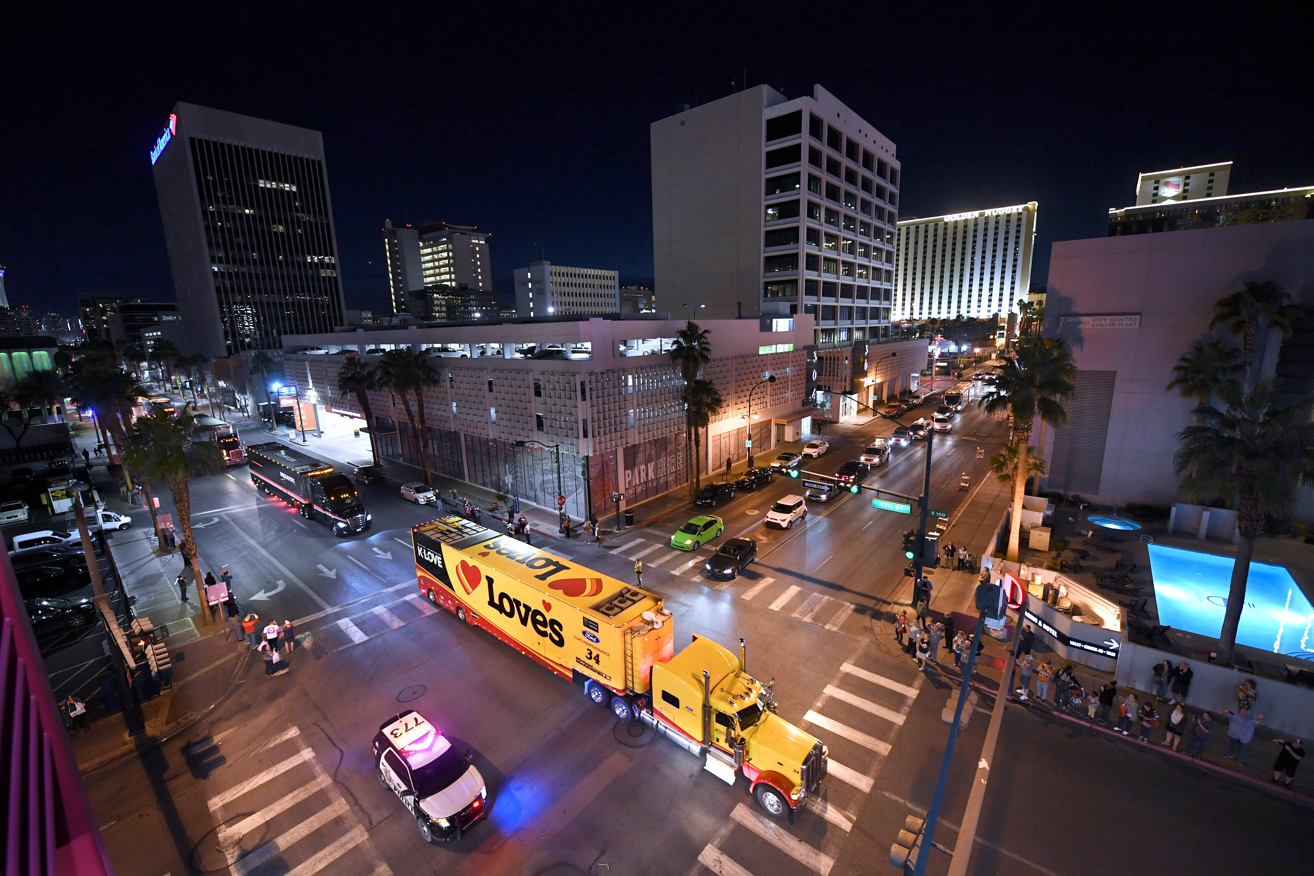 NASCAR haulers parade up Fourth Street as the Ultimate Vegas Sports Weekend gets underway Thursday, February 28, 2019. (Sam Morris/Las Vegas News Bureau)