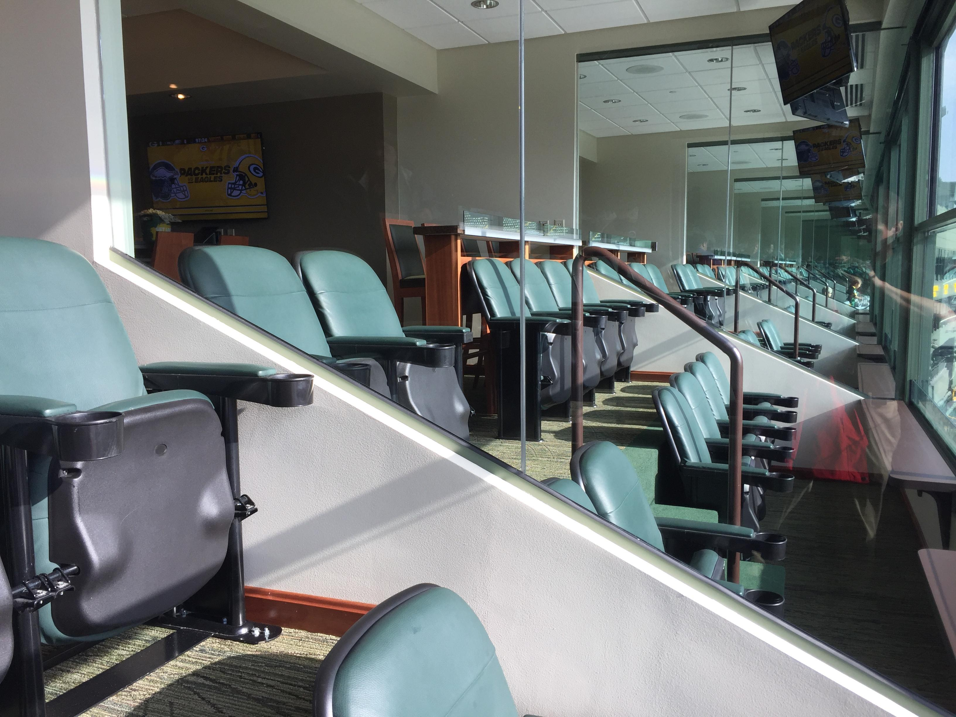 The Packers gave FOX 11 a sneak peek at the newly renovated luxury box seats at Lambeau Field ahead of the team's pre-season opener against the Philadelphia Eagles, August 10, 2017. (WLUK/Ben Krumholz)