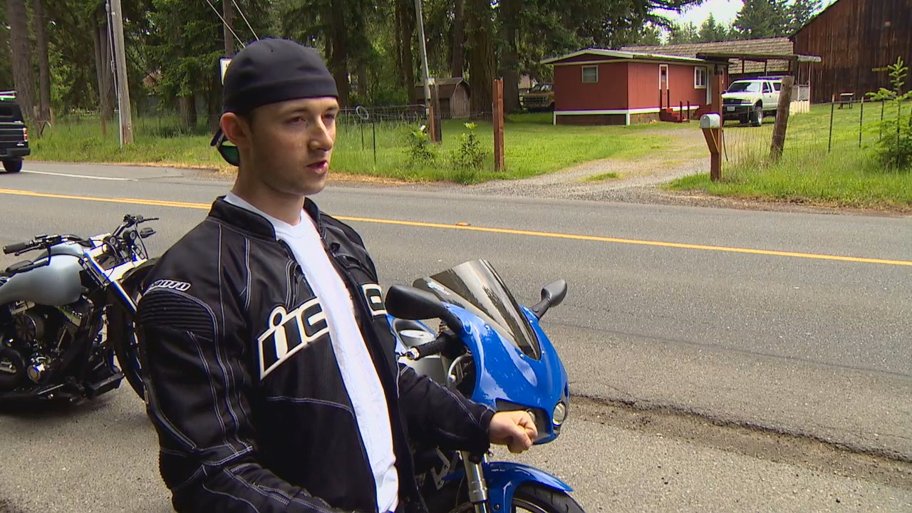 Alex Teston nearly wrecked after he cut his neck driving through fishing line that was strung across a Graham road on Friday. (Photo: KOMO News)