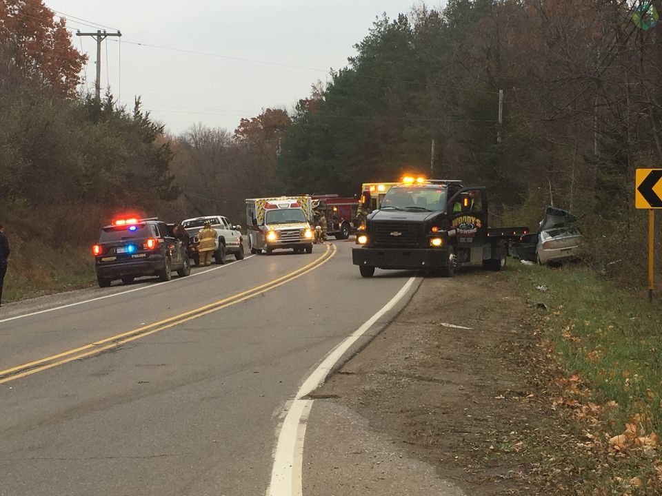 A crash temporarily closed an intersection in Argentine Township and injured one teen. (Photo: Duff Tyler/WEYI/WSMH)