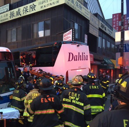 A city bus and a tour bus have collided in Queens, and the Fire Department of New York says 17 people have been hurt, seven of them severely. (New York City Fire Department)
