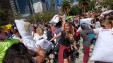 Feathers fly as pillow war overtakes downtown Los Angeles